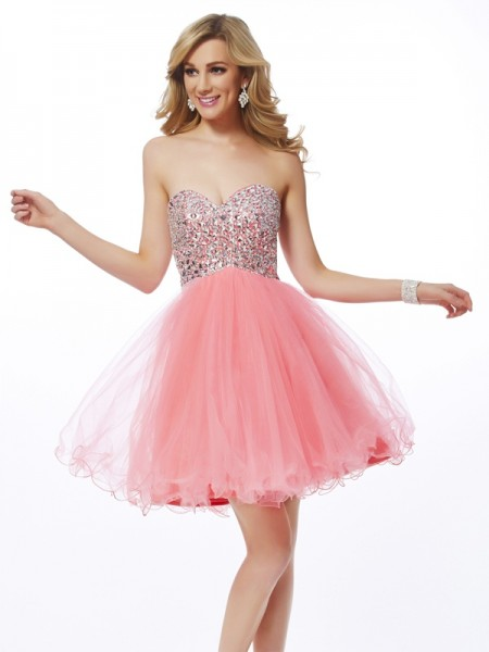 A Line Princess Sweetheart Beading Mini Net Gown