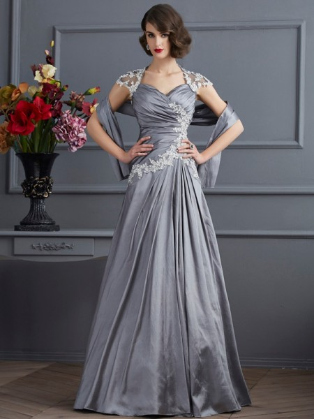 A Line Princess Sweetheart Short Sleeves Applique Beading Taffeta Floor Length Gown