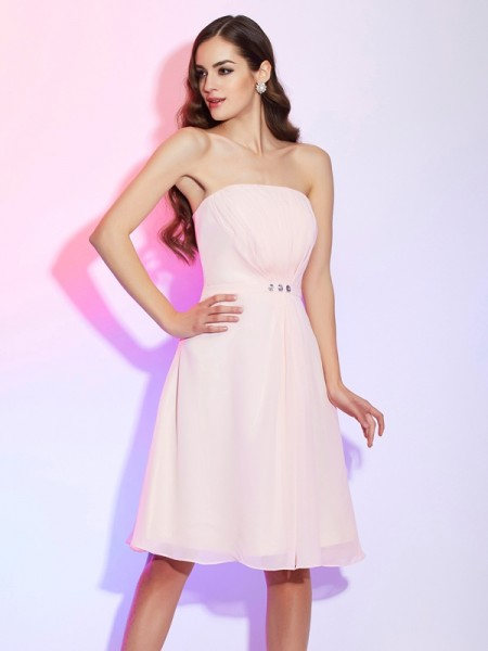 Column Strapless ruched Knee Length Chiffon Bridesmaid Gown