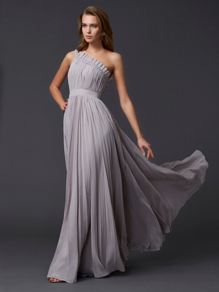 A Line Pleats One Shoulder Floor Length Chiffon Evening Dresses