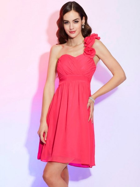 A Line Princess One Shoulder Pleats Mini Chiffon Women Dresses
