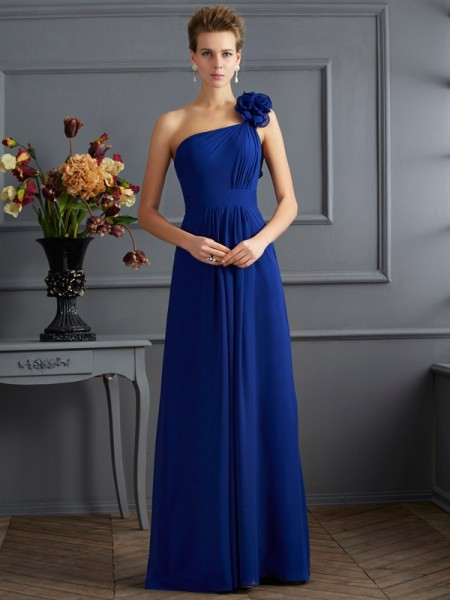A Line One Shoulder Pleats Chiffon Floor Length Evening Wear