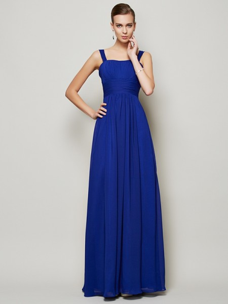 Column Straps Pleats Floor Length Chiffon Gown
