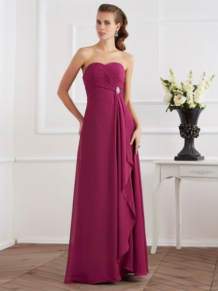 Sweetheart Column Chiffon Floor Length Evening Wear