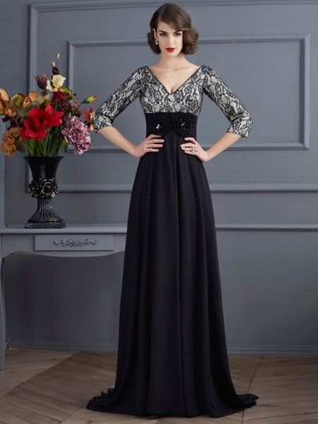 Column V-Neck Sleeves Chiffon Sweep Brush Train Evening Wear with lace