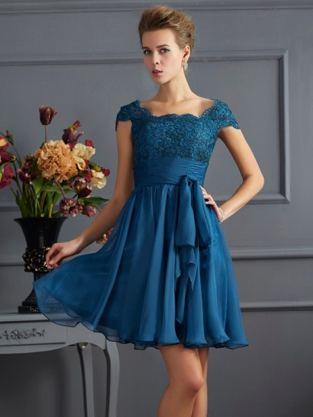 A Line Princess Scoop Chiffon Short Sleeves Mini Women Dresses with lace