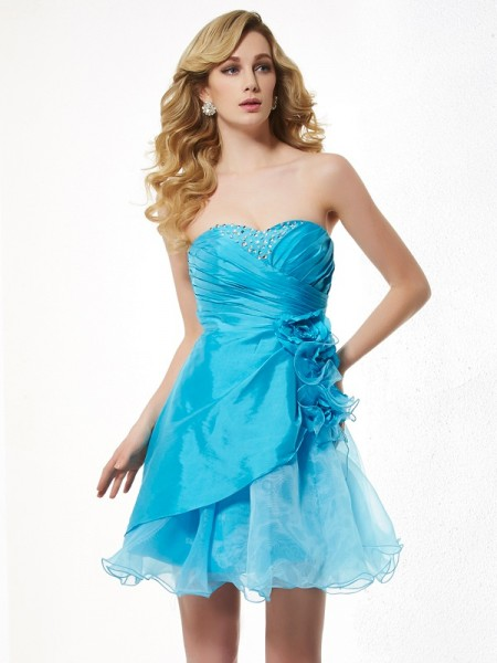 A Line Princess Sweetheart Beading Mini Taffeta Gown