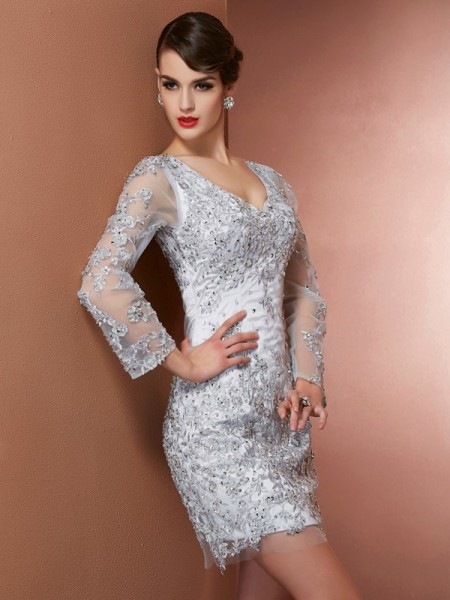 Column V-Neck long Sleeves Beading Applique Mini Elastic Woven Satin Gown