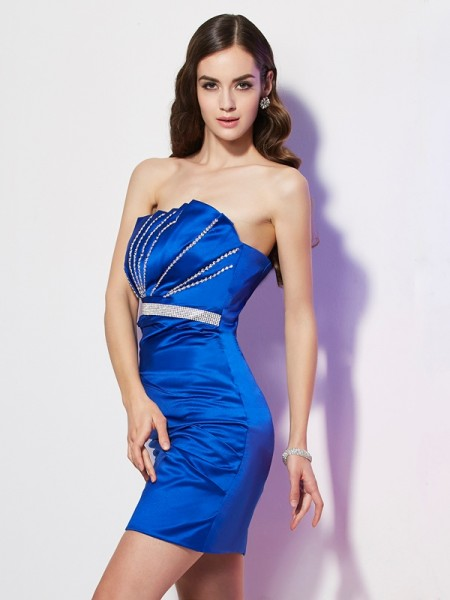 Column Strapless Beading Satin Mini Gown