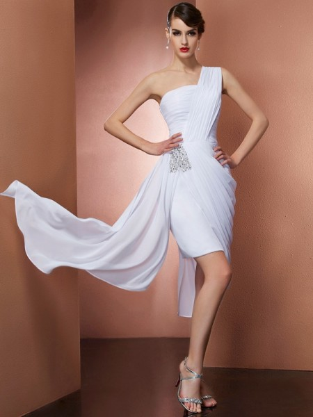 Column One Shoulder Pleats Beading Chiffon Mini Gown