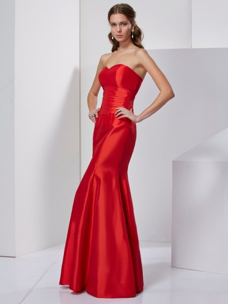 Mermaid Sweetheart Pleats Taffeta Floor Length Evening Gown