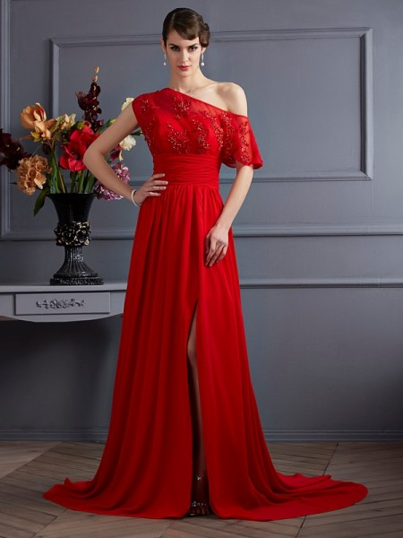 A Line Princess One Shoulder Applique Chiffon court train Evening Gown