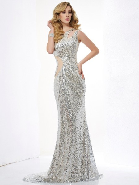 Mermaid One Shoulder Sequins lace Sweep Brush Train Evening Wear