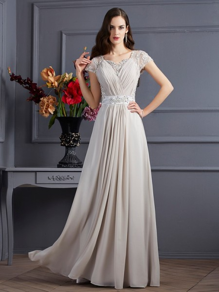 A Line Sweetheart Short Sleeves Beading Chiffon Floor Length Applique Dress