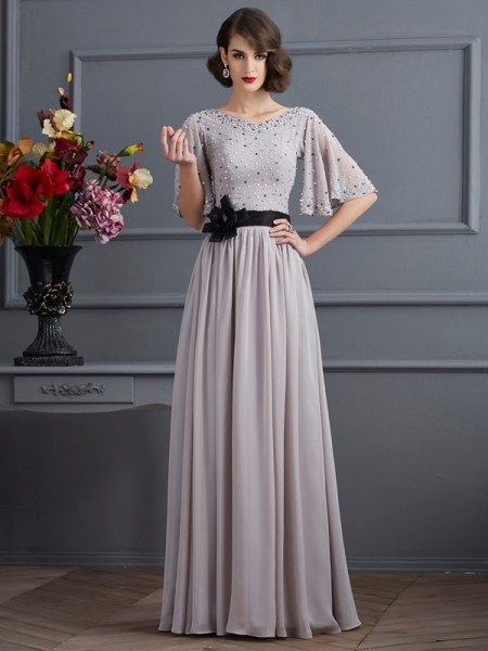 A Line High Neck Sleeves Beading Chiffon Floor Length Dress