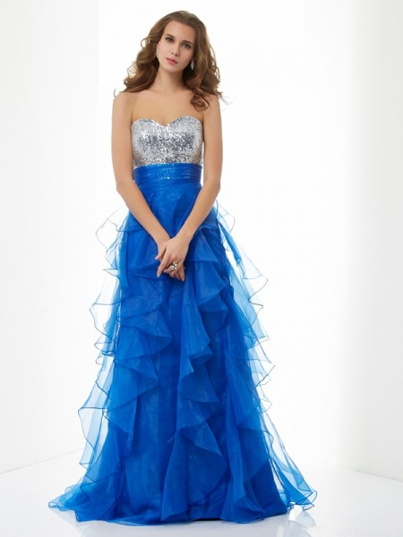 A Line Sweetheart Sweep Brush Train Satin Evening Wear