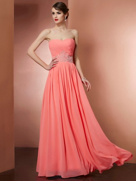 A Line Princess Strapless Beading Chiffon Pleats Floor Length Evening Gown