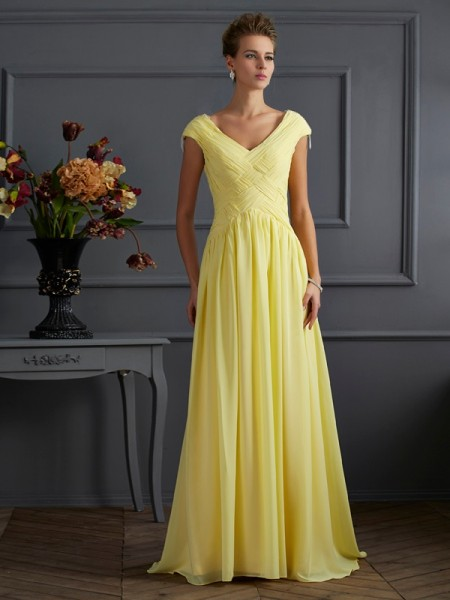 A Line Princess Short Sleeves V-Neck Beading Sweep Brush Train Evening Gown