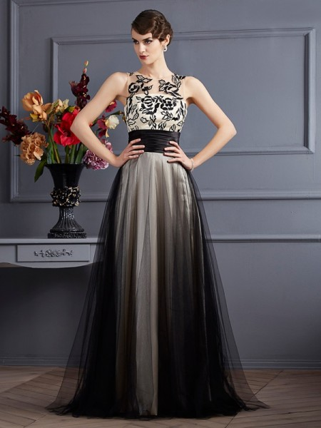 A Line Scoop silk like Satin Floor Length Evening Wear