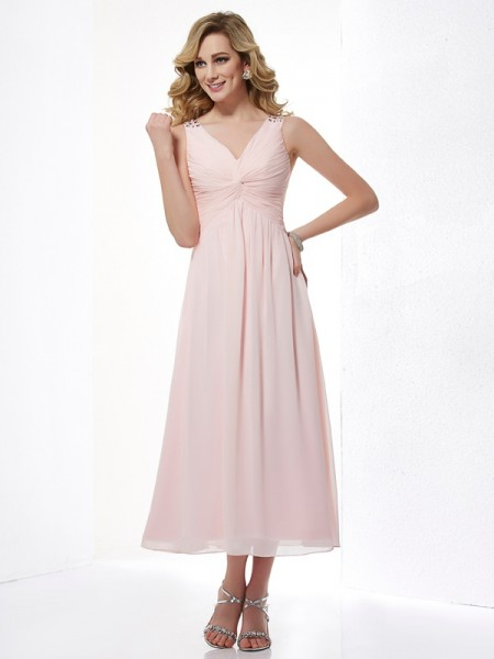 A Line V-Neck Beading Pleats Chiffon Tea Length Evening Wear