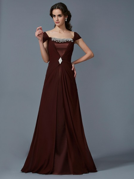 A Line Strapless Short Sleeves Floor Length Chiffon Dress