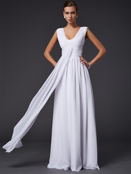 A Line Princess Jewel Floor Length Pleats Chiffon Dresses