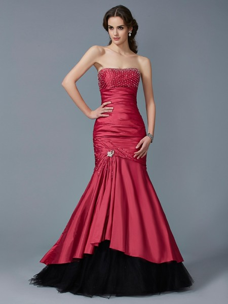 Mermaid Strapless Beading Floor Length Taffeta Evening Wear
