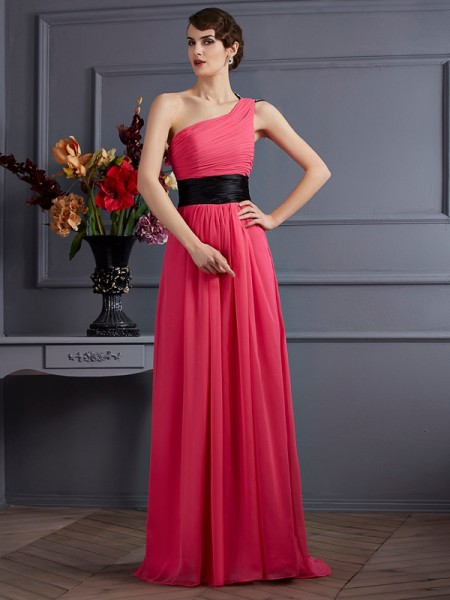 A Line Pleats One Shoulder Chiffon Sweep Brush Train Evening Wear
