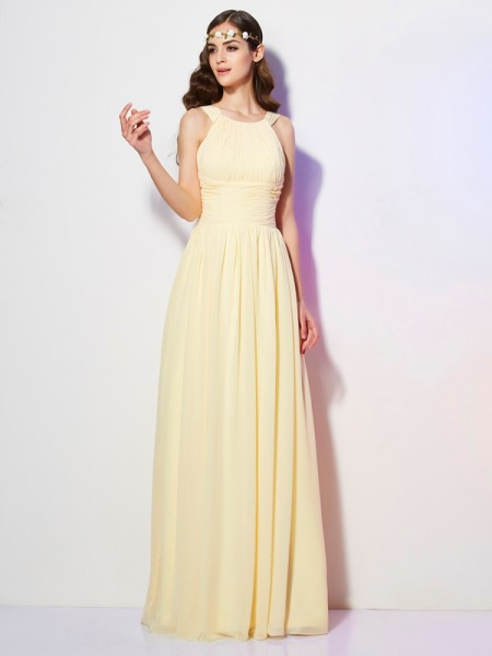 A Line Princess Bateau Pleats Floor Length Chiffon Gown