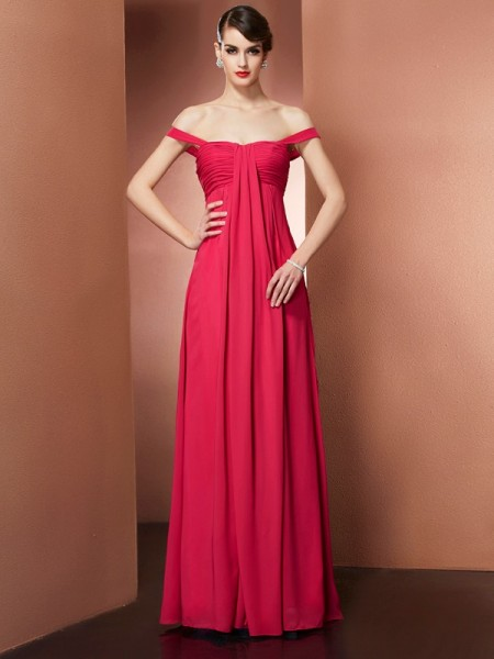 A Line off the shoulder Pleats Floor Length Chiffon Prom Dresses