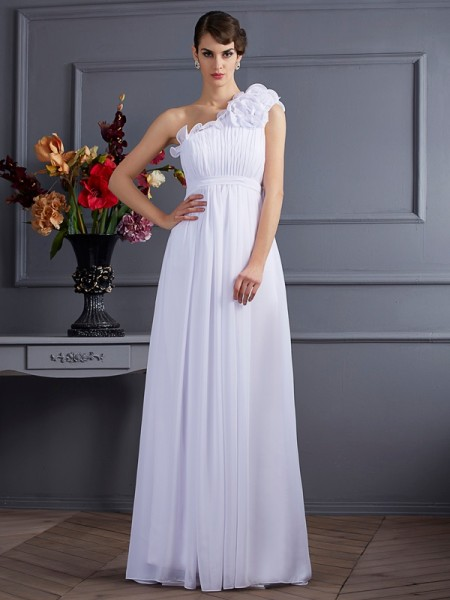A Line Applique One Shoulder Pleats Chiffon Floor Length Evening Wear