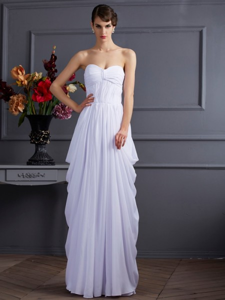 Column Pleats Chiffon Sweetheart Floor Length Evening Wear