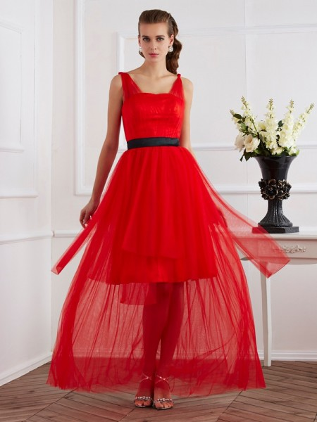 A Line Straps ankle length Pleats Elastic Woven Satin Evening Wear