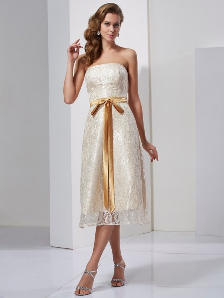 Column Strapless Sash Ribbon Belt Knee Length Satin Dresses