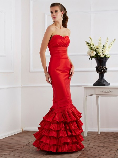 Mermaid Sweetheart Ruffles Floor Length Taffeta Evening Wear