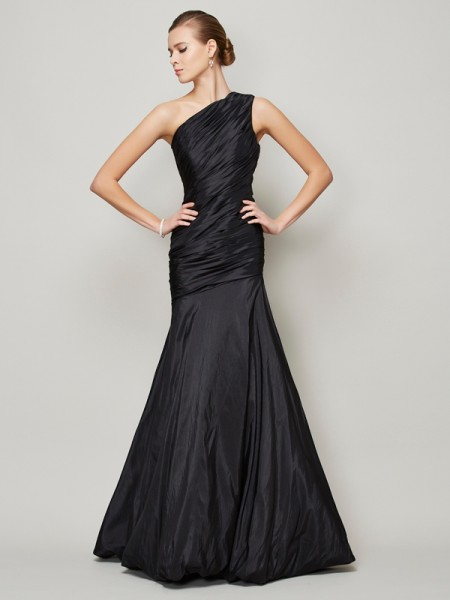 A Line Princess One Shoulder Pleats Floor Length Taffeta Gown