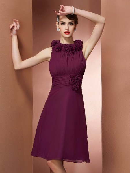 A Line Princess High Neck Hand Made Flower Knee Length Bridesmaid Gown