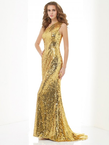 Column One Shoulder lace Sweep Brush Train Evening Wear