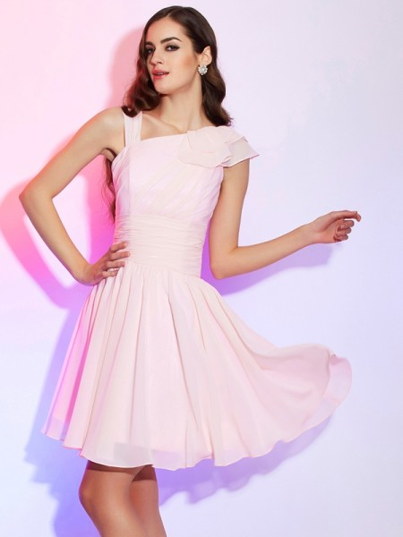 A Line Princess Pleats Mini Chiffon Women Dresses