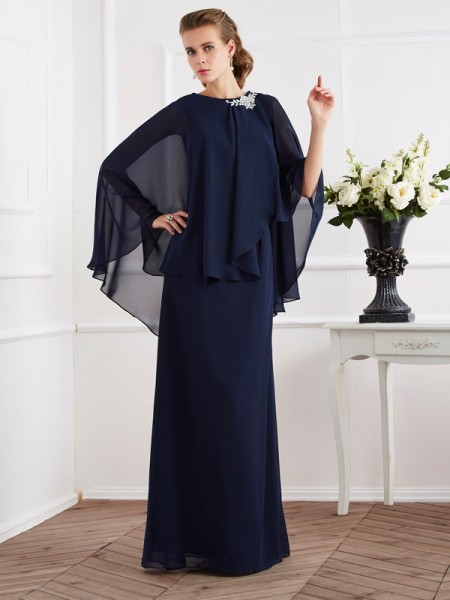 A Line Princess High Neck Floor Length Chiffon Mother of the Bride Outfits