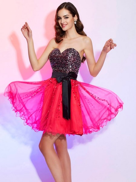 A Line Princess Sweetheart Mini Organza Gown