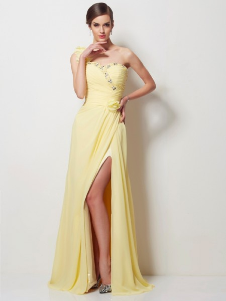 A Line Princess One Shoulder Beading Chiffon Floor Length Evening Gown