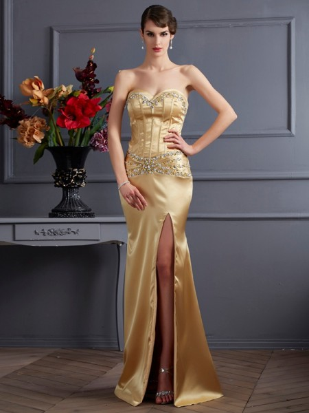Sweetheart Column Beading Sweep Brush Train Elastic Woven Satin Evening Wear