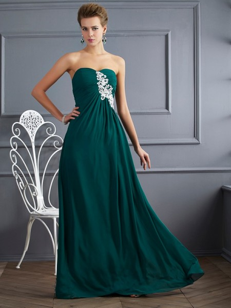 Sweetheart Column Beading Floor Length Chiffon Prom Dresses