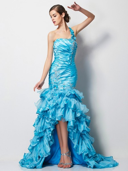 Mermaid One Shoulder Beading Asymmetrical Taffeta Evening Wear