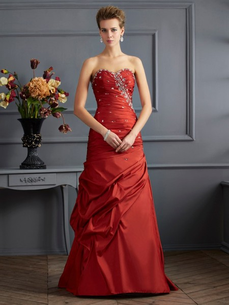 Mermaid Sweetheart Floor Length Beading Taffeta Evening Wear
