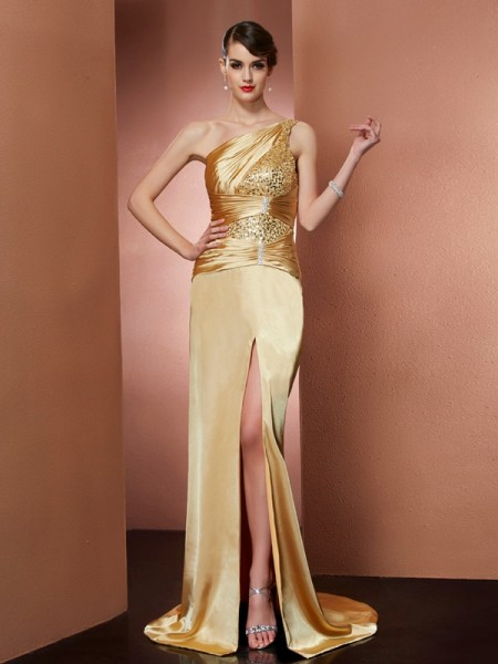 Column One Shoulder Elastic Woven Satin Beading Sweep Brush Train Evening Wear