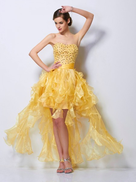 A Line Princess Sweetheart Beading Tulle Asymmetrical Gown