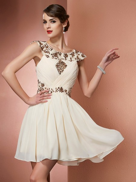 A Line Princess Scoop Beading Chiffon Applique Mini Women Dresses