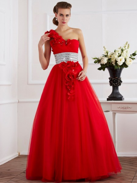 Ball Gown One Shoulder Hand Made Flower Net Floor Length Evening Wear